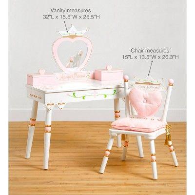 Princess Vanity Table Chair Set White Wildkin Kids Vanity
