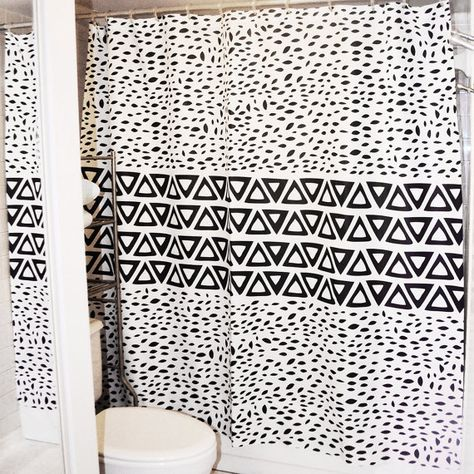 Aztec Black And White Shower Curtain Ii Minimal Tribal Design