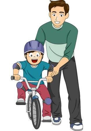 Ilustraci N De Un Padre Ense Ando A Su Hijo A Andar En Bicicleta Padre E Hijo Dibujo Rutina Diaria De Ninos Dibujos De Padres