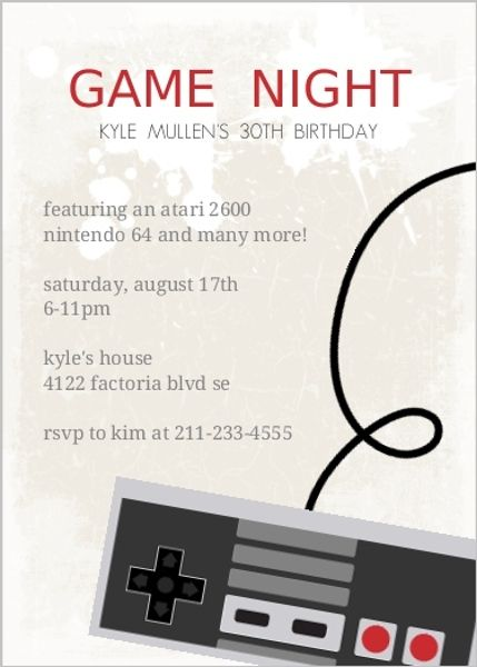 Classic Video Game 30th Birthday Party Invitation