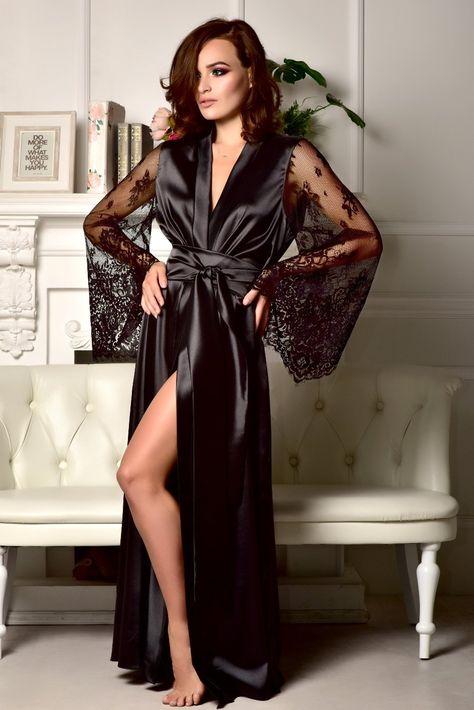 Black lace bridal robe Sexy robe Kimono robe Long robe Long | Etsy