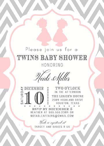 red tutus & chevron print twin girls baby shower invitations, Baby shower invitations