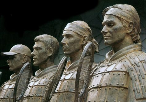 Terracotta tennis stars Andy Roddick,Novak Djokovic, Rafael Nadal and Roger Federer.  (should have Andy Murray)