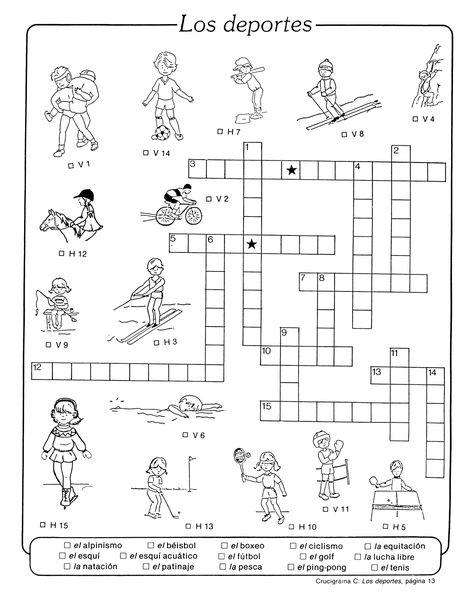 Los deportes crossword pictures