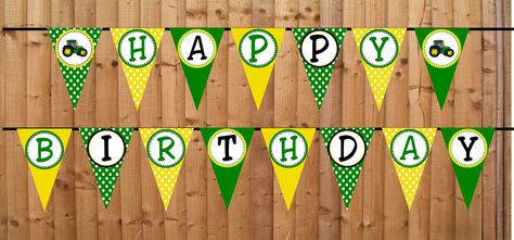 Tractor Time Happy Banner - Buy 2 Get 1 FREE - DIY PRINTABLE File John Deere Inspired Personalized Party Decorations. $5.00, via Etsy.