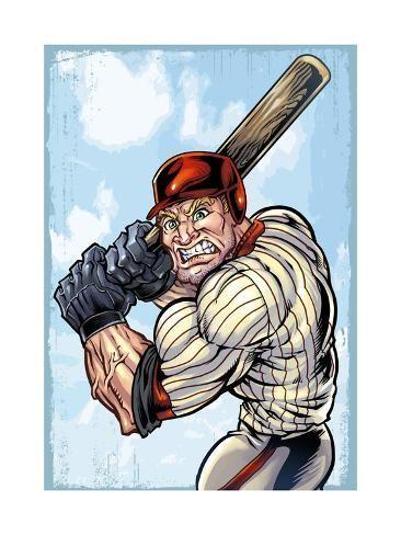 Cartoon Baseball Player Mascot Giclee Print Flyland Designs Art Com In 2020 Mascot Cartoon Doodle Drawings
