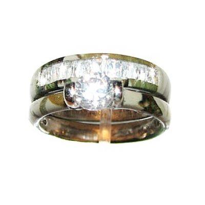 Camo CZ Wedding Sterling Silver Set with CZ Inlay