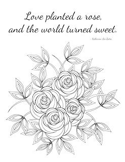 Inspirational Coloring Page Love Planted A Rose Quote Rose Quotes Flower Quotes Coloring Pages