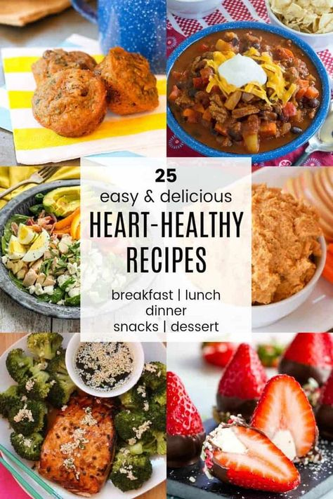 heart healthy desserts 25 Heart-Healthy Recipes for breakfast, lunch, dinner, snacks, and desserts. Delicious meals to inspire you to focus on your heart health. Heart Healthy Breakfast, Heart Healthy Desserts, Heart Healthy Diet, Healthy Breakfast Recipes, Healthy Dinners, Clean Eating, Kale Chips, Le Diner, Cupcakes