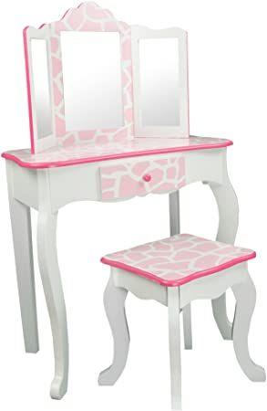 Teamson Kids Pretend Play Kids Vanity Table And Chair Vanity Set With Mirror Makeup Dressing Tab Kids Vanity Dressing Table With Drawers Vanity Set With Mirror