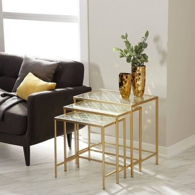 Metal Nesting Tables Pale Set Of 3 Gold Olivia May Nesting Accent Tables Nesting Tables Living Room Metal Nesting Tables