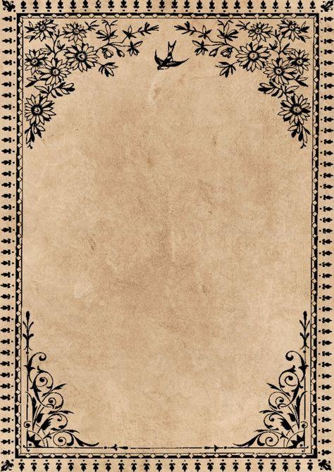 Decorative Frame Old Paper Rotulação Vintage, Papel Vintage, Vintage Frames, Vintage Paper, Vintage Prints, Old Paper Background, Background Vintage, Textured Background, Paper Background Design