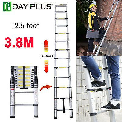 Ad Ebay Telescoping Ladder 12 5 Ft Aluminum Extension With Soft Close Spring Function In 2020 Aluminum Extension Ladder Aluminum