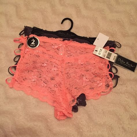 bb6dd52d33d 2 PC. Lace Boy Shorts Size 8 (1X) stretch lace panties. Coral and dark  grey. With open sides. NO TRADES Delta Burke Intimates & Sleepwear Panties
