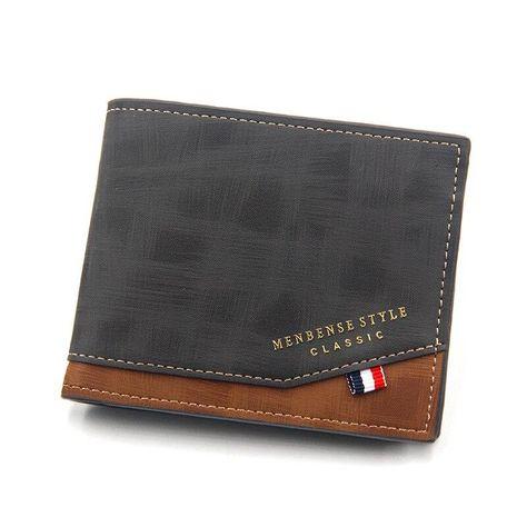 2021 Men PU Leather Short Wallet With Zipper Pocket Big Capacity Card Holder Fashion Money Wallets Coin Bag Official Wallet - black