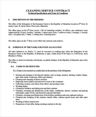 7 Sample Cleaning Contract Agreements Cleaning Contracts