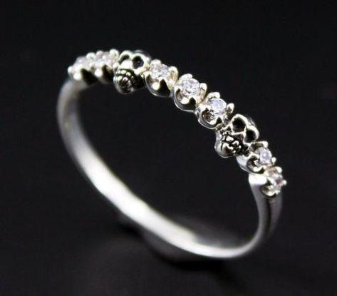 Tiny Baby Skull Ring White CZ (Cubic Zirconia) stone Half Eternity Ring - Alternative Wedding Ring - 925 Sterling Silver