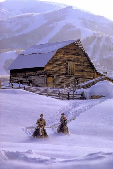 An exciting adventure, horseback riding over a snow covered landscape!