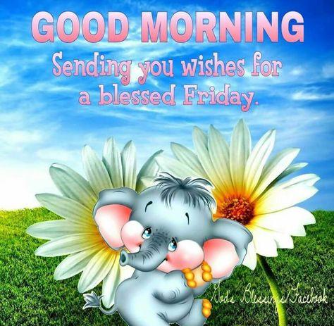 Good Morning Friday Elephant And Flowers Meme Good Morning Happy Friday Blessed Friday Good Morning Friday