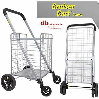 Details About Cruiser Cart Deluxe Shopping Grocery Rolling Folding