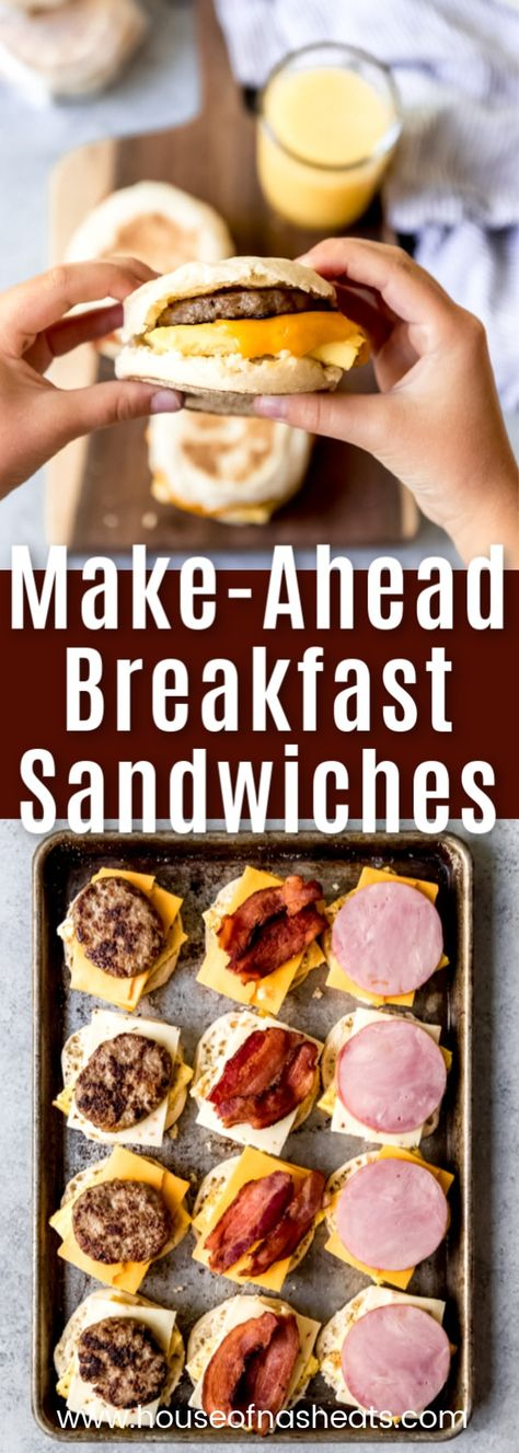 These Make-Ahead Breakfast Sandwiches are perfect for batching and throwing in the freezer for busy school mornings. Breakfast sandwiches are even better when you make them at home and you can top the English muffins and baked eggs with your favorit Sausage Breakfast Sandwich, Grill Breakfast, Frozen Breakfast, Make Ahead Breakfast Sandwich, Avocado Breakfast, Vegetarian Breakfast, Homemade Breakfast, How To Make Breakfast, Best Breakfast