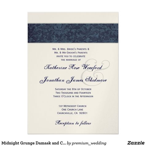 Midnight Grunge Damask and Champagne Metallic Invitation Wedding - wedding card designing