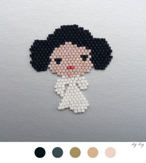 Princesse Leia En Perles #DIY #StarWars #PrincesseLeia #BrickStitch