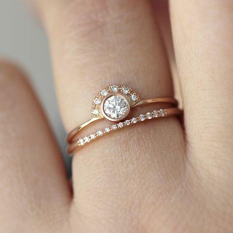 Hochzeit Set - Runde Diamond Crown Ring mit hohen ebnen Diamantring - 18k Solid Gold
