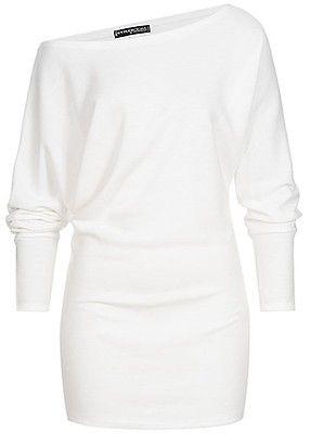 Styleboom Fashion Damen One Shoulder Fledermausarm Pullover