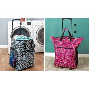 Rolling Laundry Bag On Wheels Portable Hamper Basket Cart