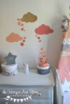 Stickers Decoration Chambre Fille Bebe Nuage Etoiles Papillons