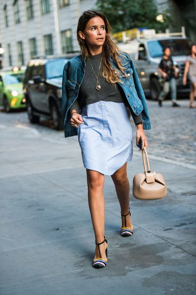 Denim Jacket and Shirt Dress - The Most Inspiring Street Style at NYFW Spring 2017 - Photos