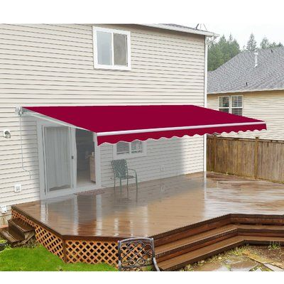 Aleko Fabric Retraction Slope Standard Patio Awning Wayfair Patio Awning Patio Canopy Gazebo Pergola