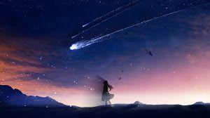 Ultra Hd Wallpaper Anime Night Sky Scenery Comet 4k For Desktop Laptop Pc Smartphone Iphone Android I Night Sky Photography Night Skies Sky Photography