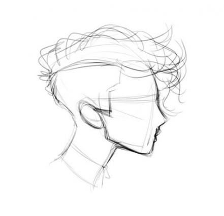 Drawing Faces Hairstyles Short Hair 43 Ideas Sketches Anime Monochrome Drawings