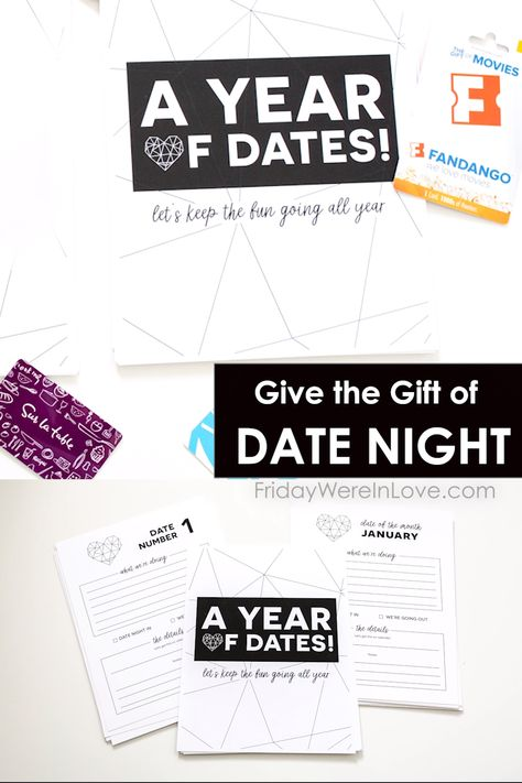 This date night ideas gift is the perfect gift for couples! Give a year of dates that are pre-planned ready to enjoy each month of the year. Plus a free year of dates printable to put your date night ideas gift together!  #yearofdates #12monthsofdates #datenightideasgift #datenightgift #dateideas #couplegoals #fridaywereinlove