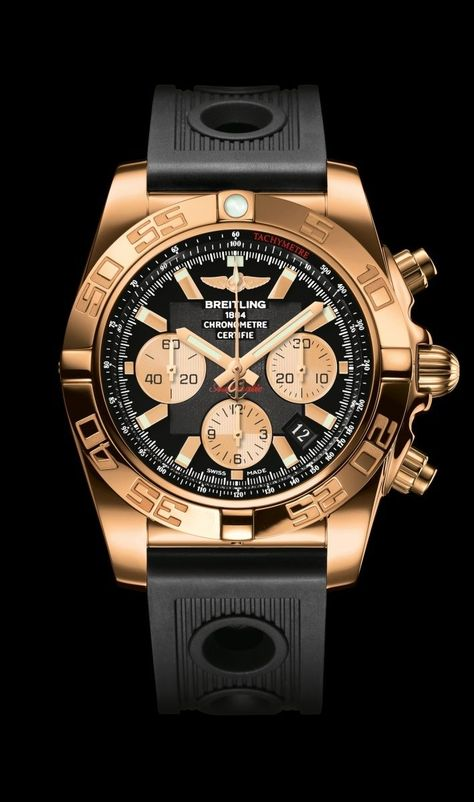 The Breitling Chronomat 44 diver's watch - Steel and rose gold case, Metallica brown dial, brown crocodile leather strap.