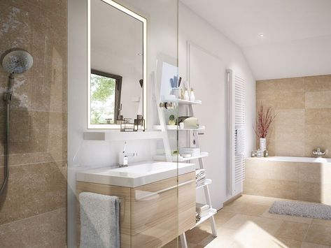Badezimmer Modern Mit Dachschrage Waschtisch Mit In 2020 Fliesen Beige Badezimmer Mediterran Badezimmer Fliesen Beige