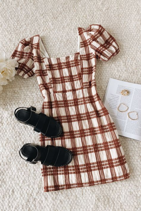 Say hello to a cute new fall outfit. Plaid is the perfect fall print and this dress is complete with puff sleeves and a square neckline, making it a must-have for the season. #lovelulus