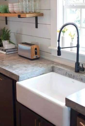 Farmhouse Sink Concrete Countertops Open Shelving 46 Ideas Farmhouse