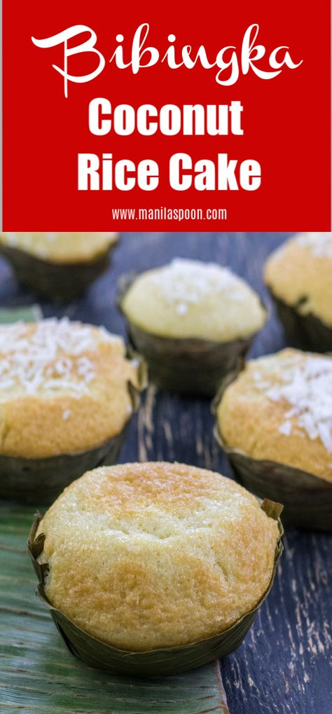 This coconut rice cake is so tender, moist, delicious and with the perfect crumbs, you won't believe you're eating a cake that's actually completely gluten-free! This Bibingka is so insanely good it can rival any regular wheat cake in taste and texture. #bibingka #minibibingka #coconutricecake #ricecake #filipinodesserts #filipinofood