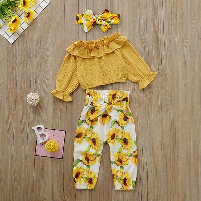 UK 3PCS Toddler Baby Girls Autumn Clothes Ruffle T-Shirt Sunflower Pants Outfits