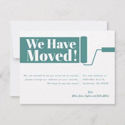 We Have Moved Moving Announcement Card Teal Zazzle Com Moving Announcements Moving Cards New House Announcement