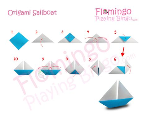 origami boat (one dimensional--glue to construction paper for a sailing scene.