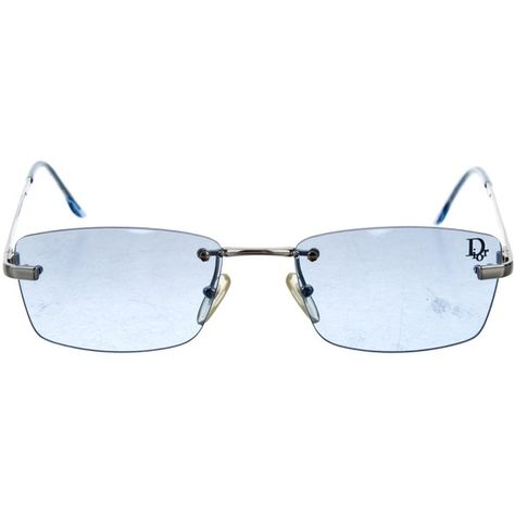fc1c46ddb734 Pre-owned Christian Dior Tiger Rimless Sunglasses ($75) ❤ liked on Polyvore  featuring accessories, eyewear, sunglasses, blue, blue lens sunglasses, ...
