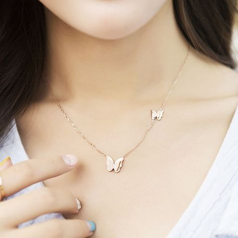Cheap Cute Rose Gold Doublue Butterfly Pendant Animal Necklace For Big Sale!Cute Rose Gold Doublue Butterfly Pendant Animal Necklace is a good sweater necklace