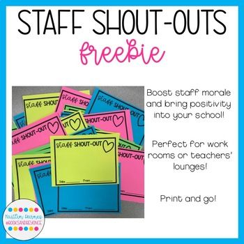 Does Your School Need A Positivity Boost My Staff Shout Out Slips Are The Perfect Way To Jazz Up Your Work Teacher Motivation Teacher Morale Staff Motivation