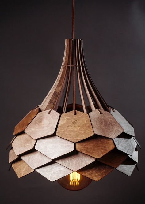 "Pendant lamp ""Dalia"" from wood coated by wax, wood lamp, ceiling lamp, hanging lamp, wooden pendant light, chandelier lighting"
