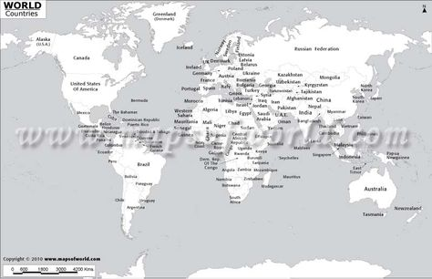 Black and White World Map with Country Names Homeschool Ideas