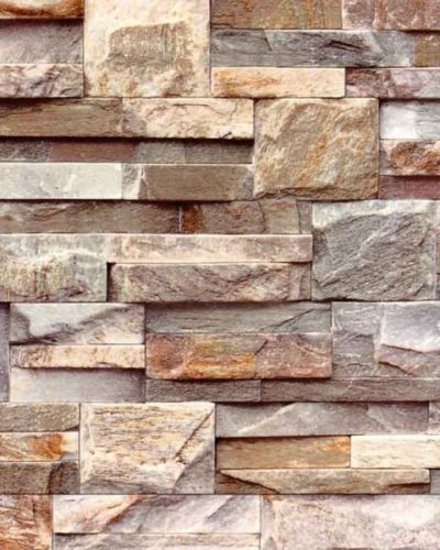 Brick Effect Wallpaper Featuring A Slate Stone Style Perfect Addition To Any Sort Of Room To Gain Ch Brick Effect Wallpaper Stone Feature Wall Stone Wallpaper